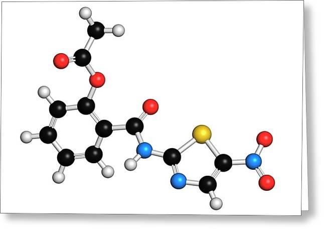 Nitazoxanide Antiprotozoal Drug Molecule Greeting Card by Molekuul