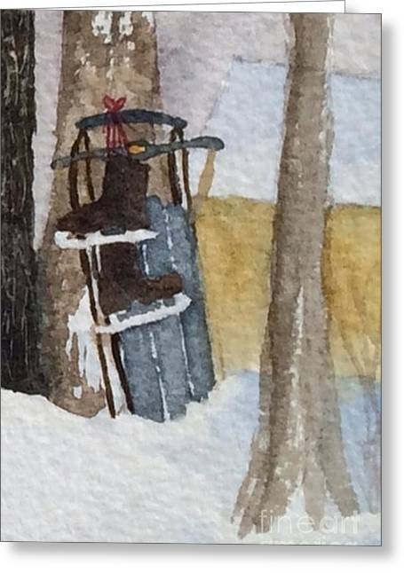 Niwot Sled And Ice Skate's From Yesteryear Greeting Card by Donlyn Arbuthnot