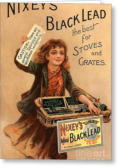 Nixey�s 1890s Uk Black Lead  Products Greeting Card by The Advertising Archives