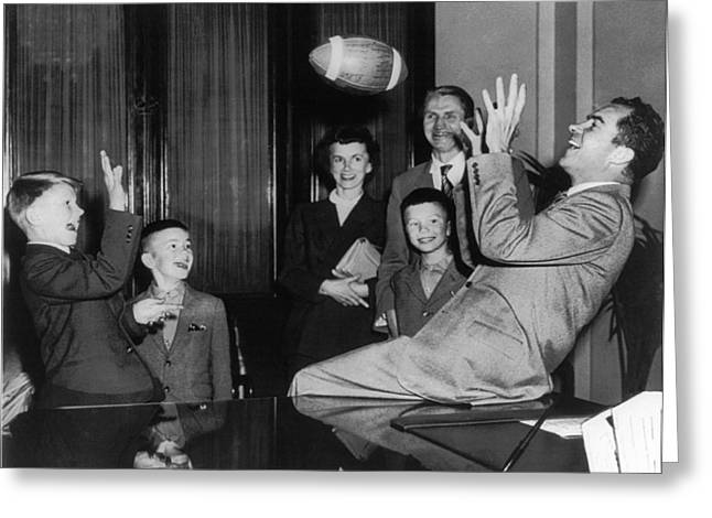 Nixon Catching Football Greeting Card by Underwood Archives