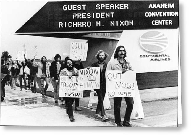 Nixon Protest In Anaheim Greeting Card by Underwood Archives
