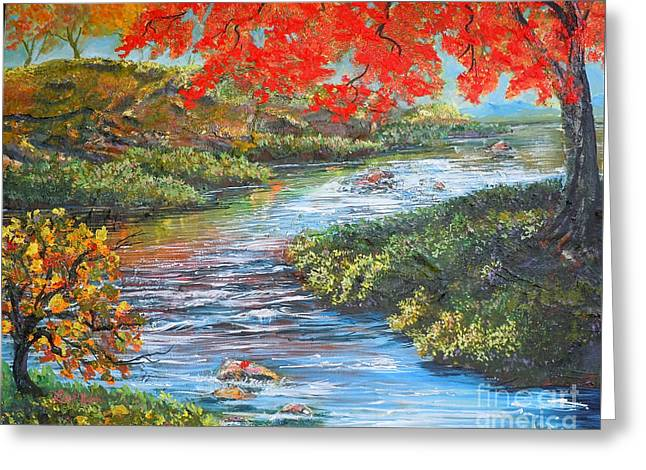 Nixon's Brilliant View Of Fall Alongside The Rapidan River Greeting Card by Lee Nixon