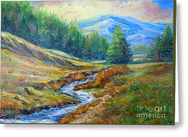 Greeting Card featuring the painting Nixon's Meandering Stream by Lee Nixon