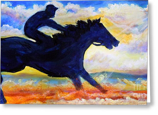 Greeting Card featuring the painting Nixon's The Race Is On No.2 by Lee Nixon