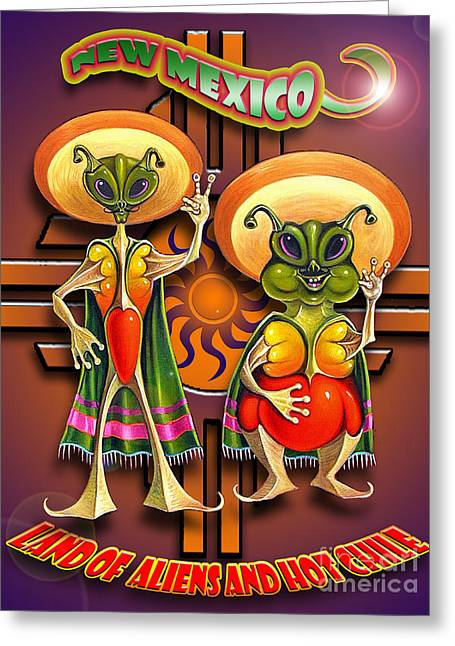 New Mexico Land Of Aliens And Hot Chile Greeting Card by Ricardo Chavez-Mendez