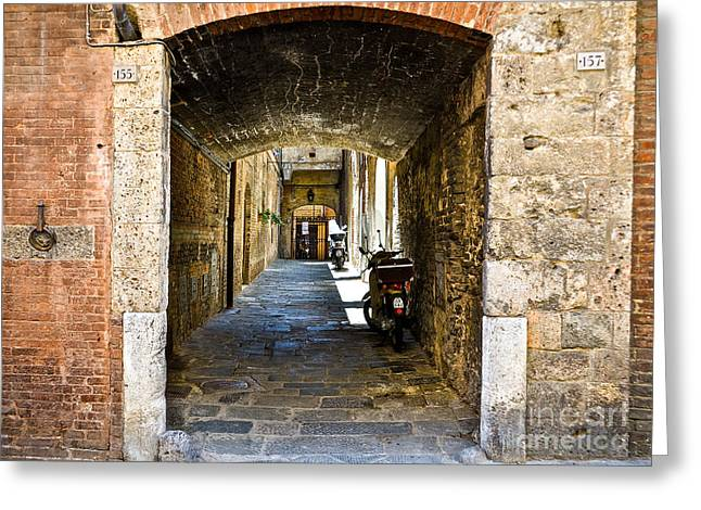No 155 And 157 - Siena Greeting Card by Amy Fearn