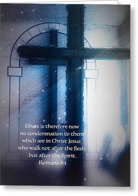No Condemnation Greeting Card by Debbie Nobile