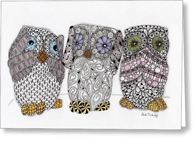 No Evil Owls Greeting Card by Paula Dickerhoff