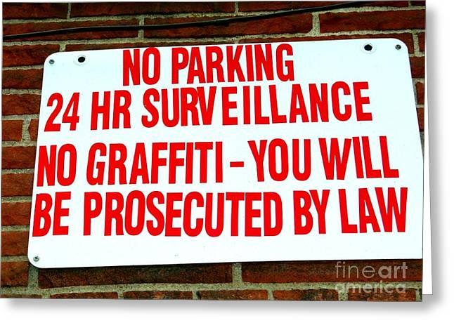 No Graffiti Greeting Card by Ed Weidman