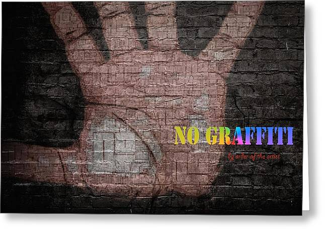 Greeting Card featuring the digital art No Graffiti by ISAW Company