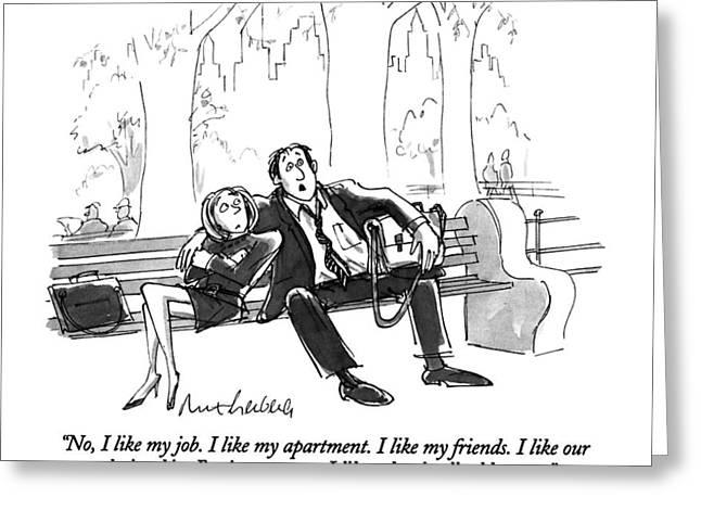 No, I Like My Job.  I Like My Apartment.  I Like Greeting Card by Mort Gerberg