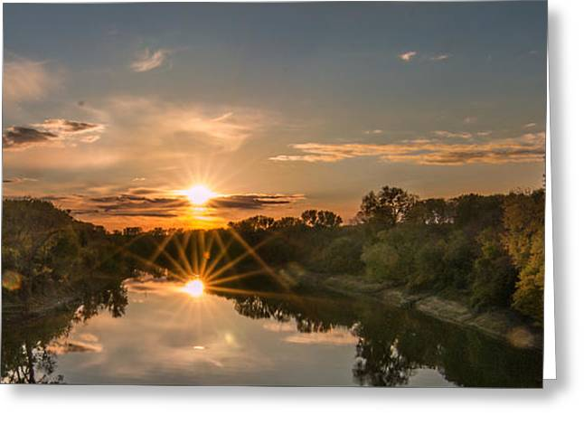 Mississippi Sunset Double Starburst Greeting Card