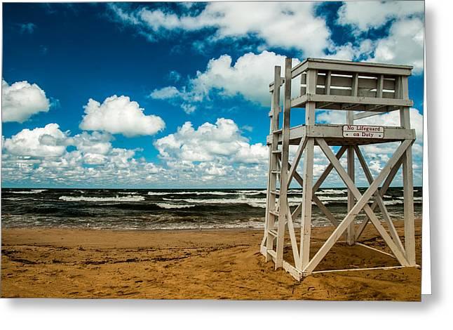 No Lifeguard On Duty Greeting Card by Gene Sherrill