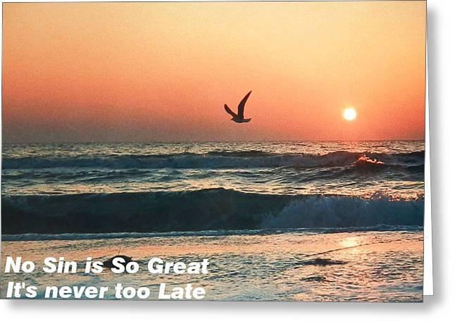 No Sin Is So Great Greeting Card by Belinda Lee