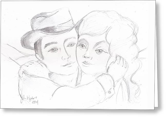 Greeting Card featuring the drawing No Time For Goodbyes by John Keaton
