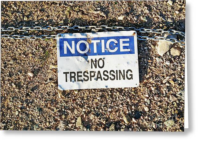 No Trespassing Sign On Ground Greeting Card