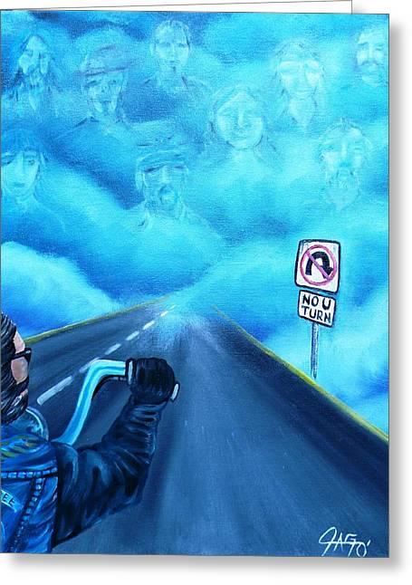 No U Turn In Blue Greeting Card by The GYPSY And DEBBIE