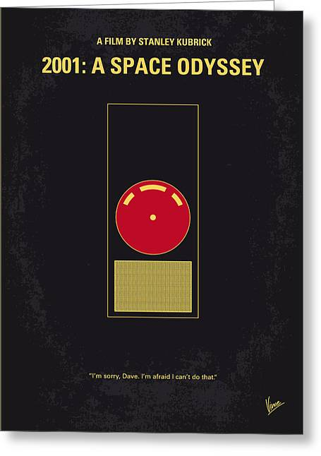 No003 My 2001 A Space Odyssey 2000 Minimal Movie Poster Greeting Card by Chungkong Art