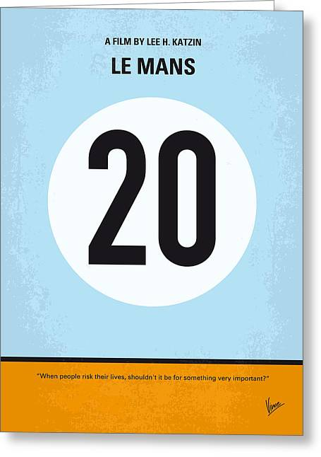 No038 My Le Mans Minimal Movie Poster Greeting Card by Chungkong Art