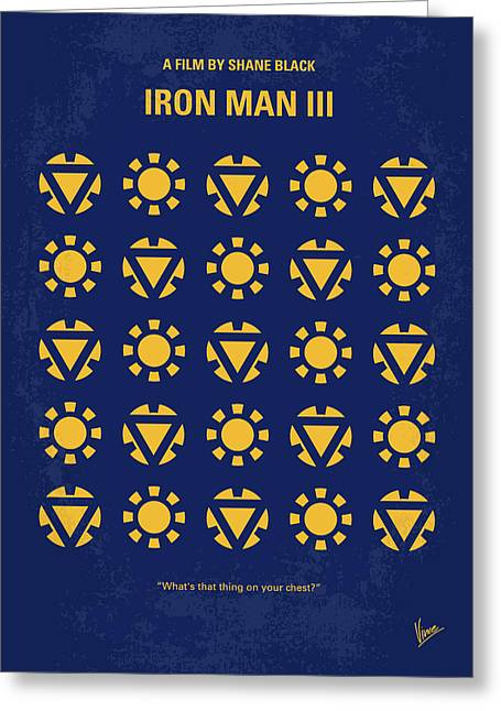 No113-3 My Iron Man 3 Minimal Movie Poster Greeting Card by Chungkong Art