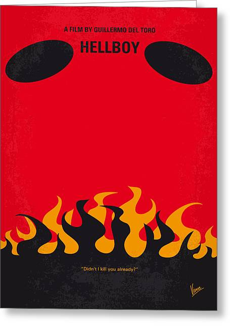 No131 My Hellboy Minimal Movie Poster Greeting Card by Chungkong Art