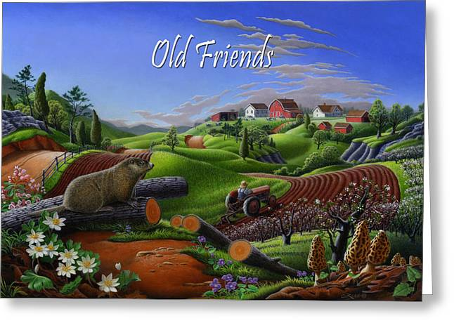 no14 Old Friends 5x7 greeting card  Greeting Card by Walt Curlee
