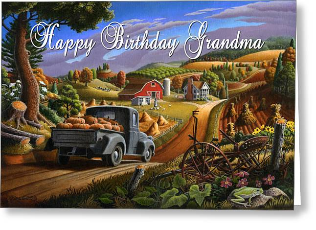 no17 Happy Birthday Grandma Greeting Card by Walt Curlee