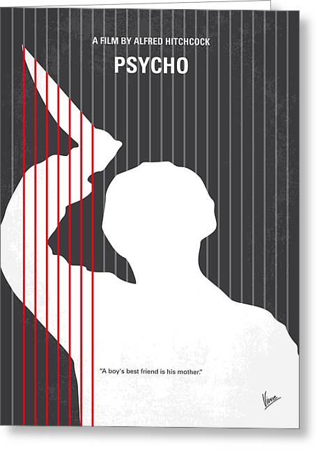 No185 My Psycho Minimal Movie Poster Greeting Card by Chungkong Art