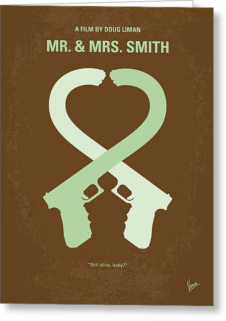 No187 My Mr And Mrs. Smith Minimal Movie Poster Greeting Card