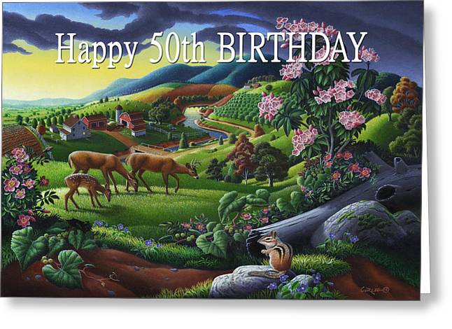no20 Happy 50th Birthday Greeting Card by Walt Curlee