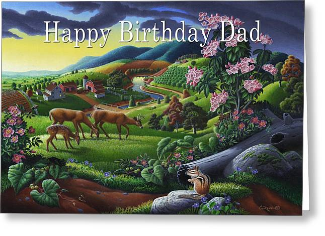 no20 Happy Birthday Dad Greeting Card by Walt Curlee