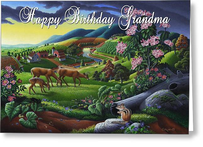 no20 Happy Birthday Grandma Greeting Card by Walt Curlee