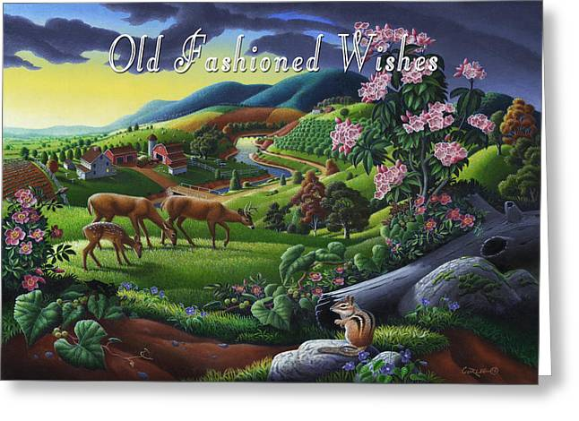 no20 Old Fashioned Wishes Greeting Card by Walt Curlee