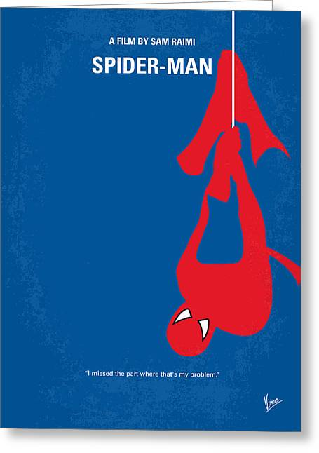 No201 My Spiderman Minimal Movie Poster Greeting Card by Chungkong Art