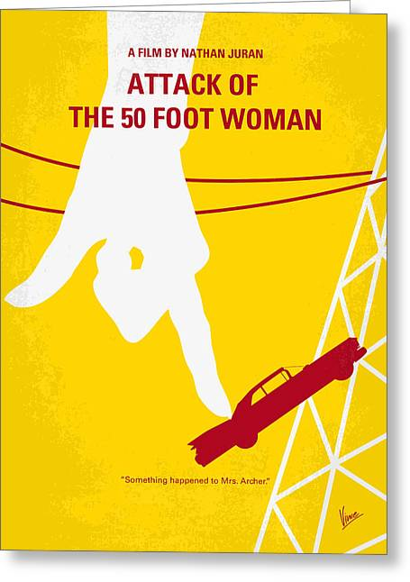 No276 My Attack Of The 50 Foot Woman Minimal Movie Poster Greeting Card by Chungkong Art