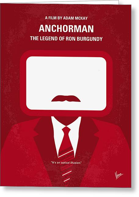 No278 My Anchorman Ron Burgundy Minimal Movie Poster Greeting Card by Chungkong Art