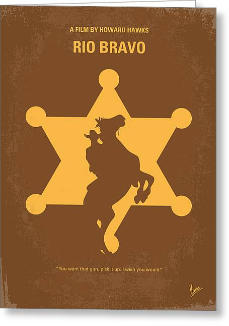 No322 My Rio Bravo Minimal Movie Poster Greeting Card by Chungkong Art