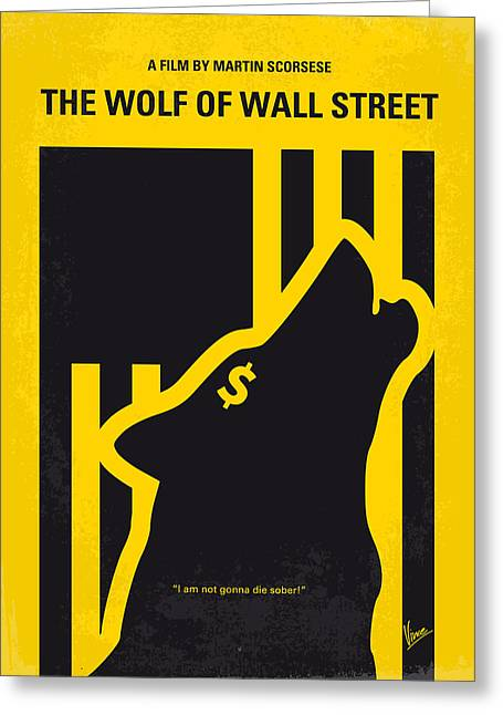No338 My Wolf Of Wallstreet Minimal Movie Poster Greeting Card by Chungkong Art