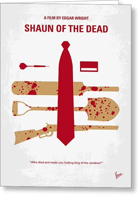 No349 My Shaun Of The Dead Minimal Movie Poster Greeting Card by Chungkong Art