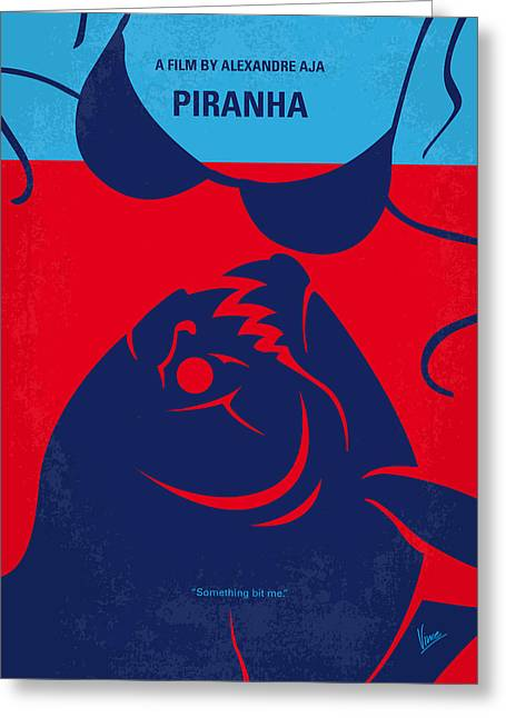 No433 My Piranha Minimal Movie Poster Greeting Card by Chungkong Art