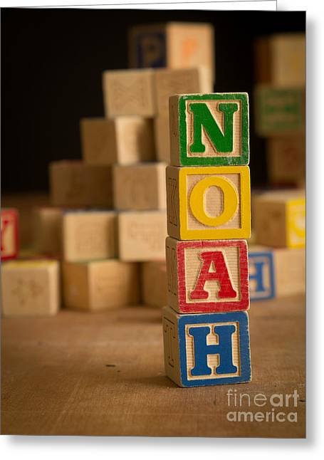 Noah - Alphabet Blocks Greeting Card by Edward Fielding