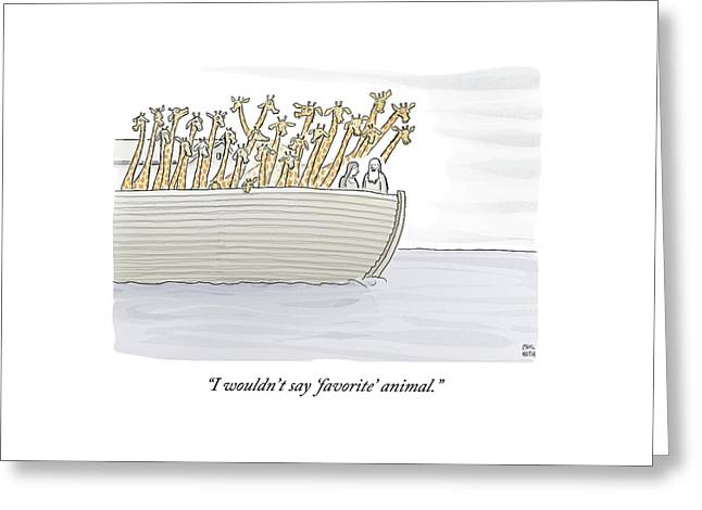 Noah In The Ark With All Giraffes Greeting Card by Paul Noth