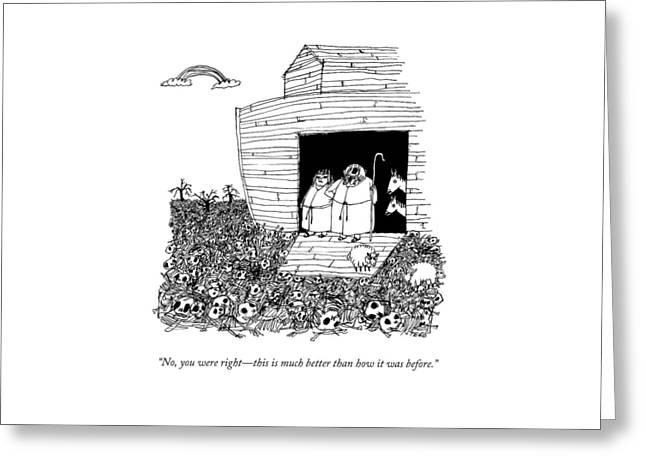 Noah, Speaking Upward To Heaven, Exits The Ark Greeting Card
