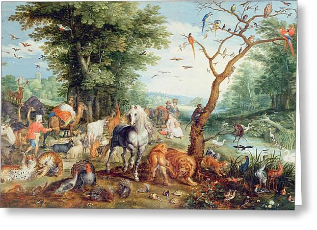 Noahs Ark Oil On Canvas Greeting Card by Jan Snellinck