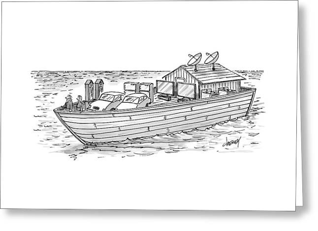 Noah's Ark With Pairs Of Home Appliances Instead Greeting Card