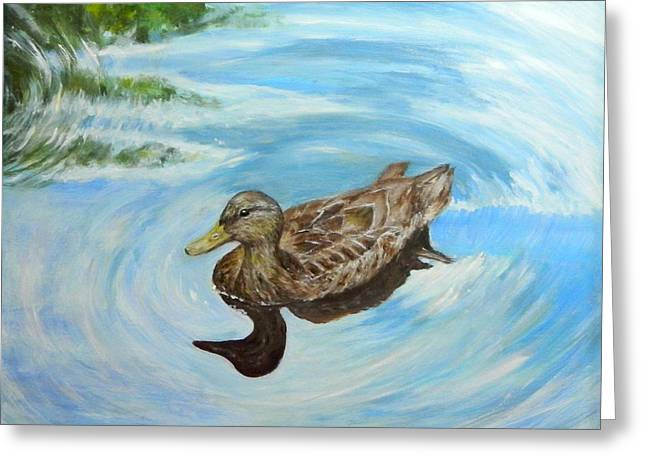 Greeting Card featuring the painting Noah's Duck by Sandra Nardone