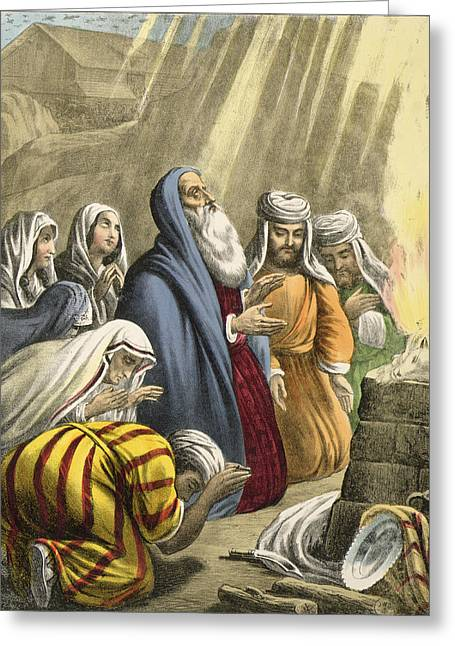 Noahs Sacrifice On Leaving The Ark Greeting Card by Siegfried Detler Bendixen