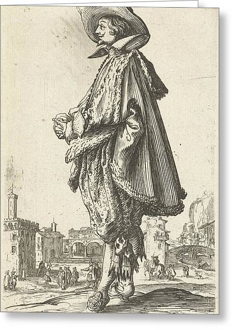 Noble Man With Hat, Seen On The Left, Jacques Callot Greeting Card by Jacques Callot And Frederik De Wit Possibly