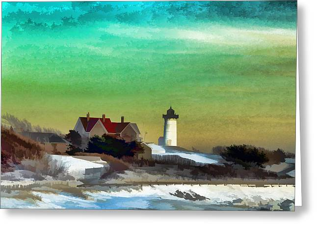 Nobska Lighhouse In Winter Greeting Card