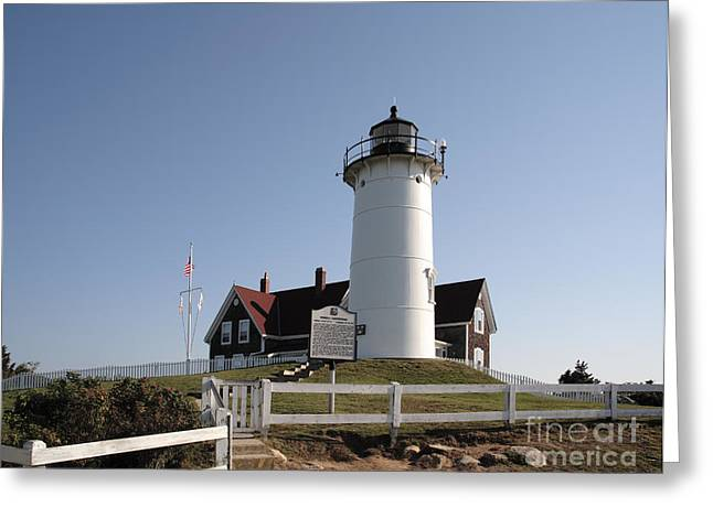 Nobska Lighthouse On Cape Cod At Woods Hole Massachusetts Greeting Card